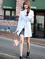 Women's Solid Blue Blazer , Casual / Work V Neck Long Sleeve