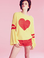 Women's Solid Pink / Yellow Pullover , Casual Long Sleeve