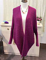 Women's Solid Purple Cardigan , Casual Long Sleeve