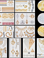 10pcs Body Art Temporary LS Lace Lines Gold Silver Flash Metallic Tattoos Sticker Jewelry Waterproof