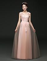 저녁 정장파티 드레스 - 블러슁 핑크 / 루비 A라인 바닥 길이 V넥 명주그물
