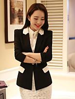Women's Solid White / Black / Yellow Blazer , Casual / Work V Neck Long Sleeve