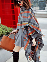 Women Wool Blend British Style Classic Grid Scarf , Vintage / Casual