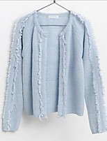 Women's Solid Blue / Almond Cardigan , Casual Long Sleeve