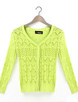 Women's Solid Multi-color Cardigan , Vintage / Casual Long Sleeve