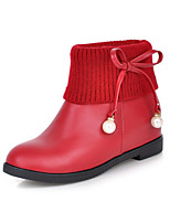 Women's Shoes Leatherette Low Heel Round Toe Boots Casual Black / Yellow / Red / White