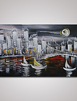 Hand-Painted Abstract Cityscape at Night Oil Painting on Canvas Ready to Hang