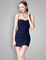 שמלה לשושבינה  - נייבי כהה נדן / טור - אהובה - קצר / מיני - כותנה / תחרה / פוליאסטר