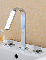 Polished Chrome Deck Mounted Bathroom Dual Handles Basin Sink Mixer Faucet Three Holes with Hot and Cold Water