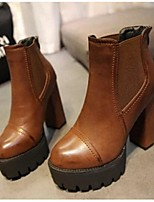 Women's Shoes Chunky Heel Combat Boots / Closed Toe Boots Casual Black / Brown