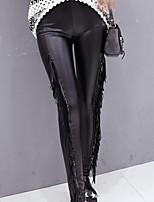 Women Solid Color / PU / Fleece Lined Legging , PU Thin