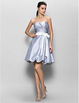 Brautjungfernkleid - Silber Taft - A-Linie - knielang - Herz-Ausschnitt