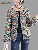 Women's Color Block Multi-color Cardigan , Vintage / Casual / Cute / Party Long Sleeve SF9B04