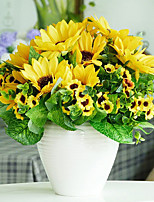 A Bunch Of 7 Fork Polyester / Plastic Sunflowers Artificial Flowers(1PC)