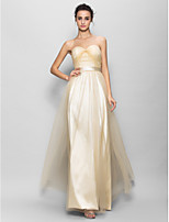 Floor-length Tulle / Charmeuse Bridesmaid Dress - Champagne A-line Sweetheart