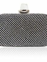 Women Satin Flap Clutch / Evening Bag - Gold / Black