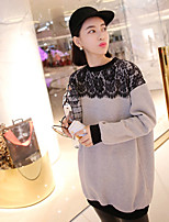 Maternity Crew Neck Lace Blouse , Mesh / Cotton Long Sleeve