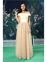 온라인 공식 이브닝 드레스 - 샴페인 바닥 길이 오프 - 더 - 어깨 레이스 / 새틴