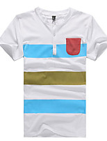Men's Short Sleeve T-Shirt , Cotton Casual Striped