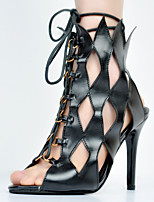 Women's Shoes Leatherette Stiletto Heel Gladiator / Open Toe Sandals Party & Evening / Dress / Casual Black