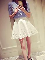 Women's Solid White / Black Skirts , Vintage Mini