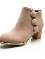 Chaussures Femme - Extérieure / Décontracté - Noir / Marron / Beige - Gros Talon - Bout Arrondi / Bottes à la Mode - Bottes - Daim