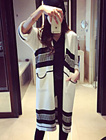 Women's Striped Blue / White Cardigan , Casual Long Sleeve