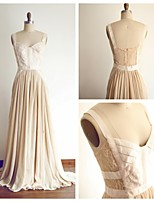 Formal Evening Dress - Champagne A-line Straps Sweep/Brush Train Chiffon / Lace
