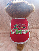 Holdhoney Red Christmas Heart-Shaped T-Shirt For Pets Dogs (Assorted Sizes) #LT15050233