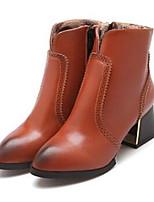 Chaussures Femme - Décontracté - Noir / Marron / Orange - Gros Talon - Bout Pointu - Bottes - Similicuir