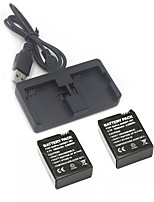 Gopro hero 3 3+ Charger Kit 2Pcs  3.7V 1050mAh Gopro Hero 3/3+ Battery +Dual 2 Battery USB Charger for GoPro3 3+