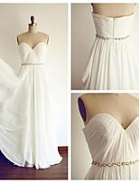 웨딩 드레스 - 아이보리(색상은 모니터에 따라 다를 수 있음) A 라인 바닥 길이 스윗하트 쉬폰