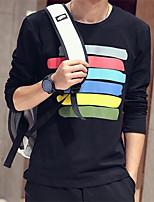 Herren Freizeit T-Shirt  -  Gestreift Lang Baumwolle