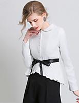 Women's Solid White / Black Blazer , Casual / Work Shirt Collar Long Sleeve