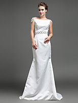 Vestido de Boda - Marfil Corte Sirena Barrida - Barco Satén