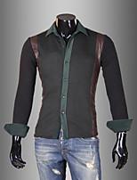 Men's Long Sleeve Shirt , Cotton / PU Casual / Work Plaids & Checks