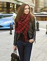 Women Wool Blend British Style Grid Scarf , Vintage / Casual