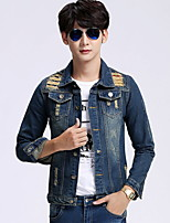 Men's Lapel Punk Fashion  Long Sleeve Denim Jacket