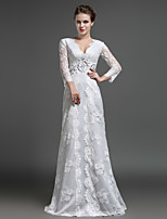 Sheath/Column Mother of the Bride Dress - Ivory Floor-length Lace