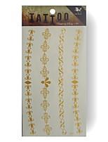 King Horse® GoldenTattoo YF25  5sheets  Wedding White Tattoo Stickers  Non Toxic/Wedding /Hawaiian  20.5*10cm Flower