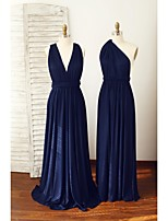 Floor-length Spandex Bridesmaid Dress - Dark Navy A-line Straps