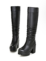 Women's Shoes Chunky Heel Fashion Boots / Round Toe Boots Dress / Casual Black / White