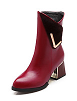 Women's Boots Spring / Fall / Winter Fashion Boots Leatherette Outdoor / Casual Chunky Heel Others Black / Burgundy
