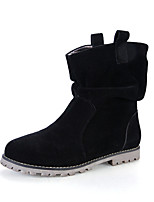 Women's Shoes Suede Flat Heel Bootie / Comfort / Round Toe / Closed Toe Boots Casual Black / Blue / Brown