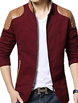 Men's Long Sleeve Jacket , Cotton / Denim / Polyester / PU Casual / Sport / Plus Sizes Pure