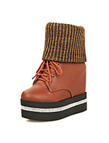 Women's Shoes Leatherette Wedge Heel  / Heels / Round Toe Boots Outdoor / Office & Career / Casual Black / Brown