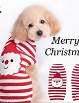 FUN OF PETS® Autumn and Winter Christmas Santa Claus Red and White Striped Cartoon Dog Sweater Dog Clothes for Pet Dogs