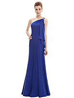 Floor-length Stretch Satin Bridesmaid Dress - Pool A-line One Shoulder
