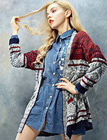 Women's Patchwork Red Cardigan , Casual Long Sleeve