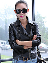 Women's  New Arrival Slim All-Match Solid Red / Black Jackets , Casual Shirt Collar Long Sleeve